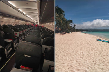 Rory Lovelock had almost the whole plane and beach to himself on a trip to the Philippines.