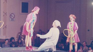 "Milana Milos, left, performing in the Kenja play ""Klowning"" in 1991."