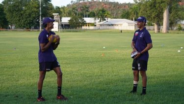 Claremont colts teammates Isaiah Butters and Leno Thomas at Fremantle's community camp last week.