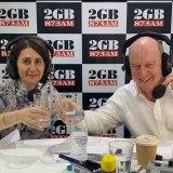 Alan Jones enjoying a breakfast with NSW Premier Gladys Berejiklian.