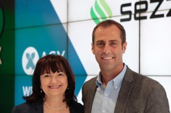 Charlie Youakim the co-founder of Sezzle at its ASX listing with chief financial officer Karen Hartje.