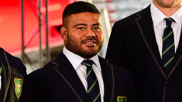 Tolu Latu at Australia's World Cup squad announcement in Sydney.