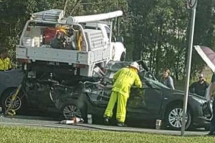 At least two women were trapped in their cars.