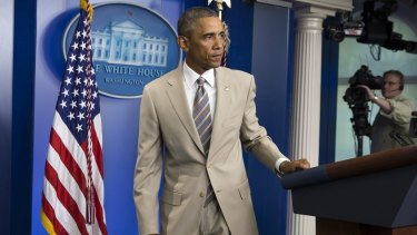Taupe-doed: the President's choice of suit colour sparked the Twitterverse into action.