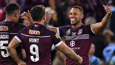 The Maroons celebrate their win at the end of game one for the 2019 State of Origin.
