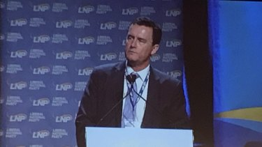 LNP state president Gary Spence address the convention in Brisbane last year.