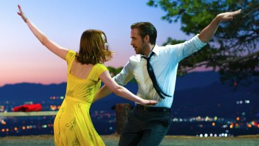 Emma Stone and Ryan Gosling dance the night away in La La Land.