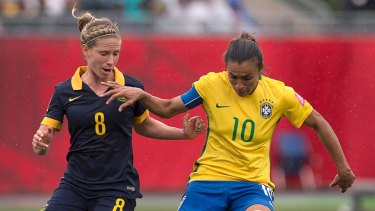 Marta in action against Australia at the last World Cup.