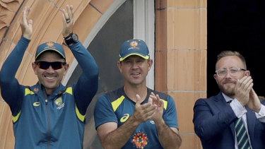 Justin Langer, Ricky Ponting and team manager Gavin Dovey at Lord's during the 2019 World Cup.