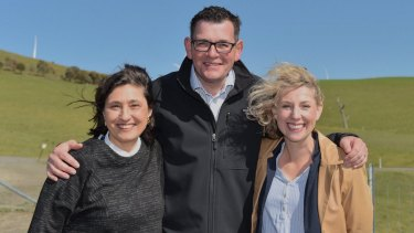(L-R) Lily D'Ambrosio, Daniel Andrews and Sarah De Santis in Ararat to announce a renewable energy auction in September.