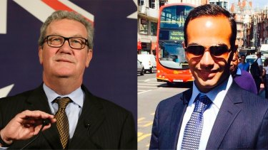The report provides new details on the meeting between George Papadopoulos (right) and Alexander Downer (left) that sparked the Russia probe.