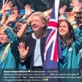 Senator Bridget McKenzie with the Australian youth Olympic team in Sydney on September 30, 2018.