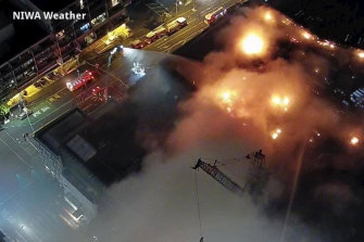 A fire at SkyCity Convention Centre in Auckland continued to burn into Tuesday night.
