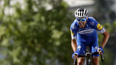 Final stretch: Alaphilippe hits the crest before the finish line.
