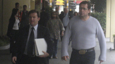 Troy Mercanti (right) leaving court in 2007, facing assault charges for a nightclub incident.