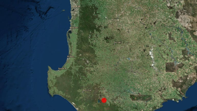 The location of the earthquake in WA's South West.
