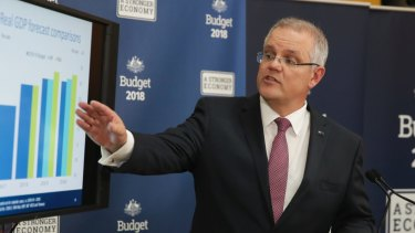 Treasurer Scott Morrison addresses journalists at a press conference during the budget lockup for Treasurer Scott Morrison's third Budget.