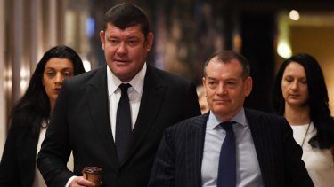 Crown's major shareholder James Packer (left) and executive chairman John Alexander.