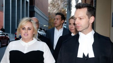 Rebel Wilson and her counsel, Dr Matthew Collins QC.