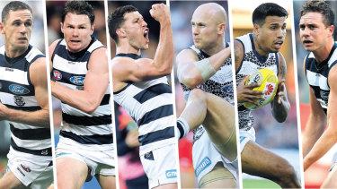 Top Cats: Joel Selwood, Patrick Dangerfield, Sam Menegola, Gary Ablett, Tom Kelly, Jordan Murdoch from Geelong.