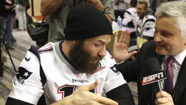 New England Patriots wide receiver Julian Edelman, on left.