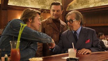 Washed up:  Brad Pitt as Cliff Booth, from left, with Leonardo DiCaprio's Rick Dalton, meeting Marvin Shwarz (Al Pacino) in Tarantino's Once Upon a Time in Hollywood.