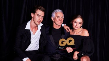 Baz Luhrmann with young stars Austin Butler - cast as Elvis Presley - and Olivia DeJonge - cast as Priscilla Presley.