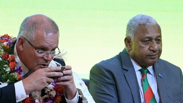 Australian Prime Minister Scott Morrison was warned by Fijian Prime Minister Frank Bainimarama over the growing climate change threat to the region.