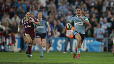 Jarryd Hayne's intercept try, with Billy Slater trying desperately to keep up.