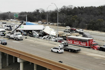 First responders work the scene of the fatal crash on I-35 near downtown Fort Worth.
