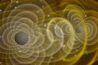 Illustration of gravitational waves produced by two orbiting black holes