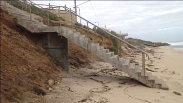 Stairs to a beach near Mettams Pool at North Beach are in danger of collapsing, with the council now getting involved.