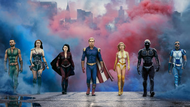 The Seven, the ostensible superheroes of The Boys (l-r): The Deep (Chace Crawford), Maeve (Dominique McElligott), Stormfront (Aya Cash), Homelander (Antony Starr), Starlight (Erin Moriarty), Black Noir (Nathan Mitchell), and A-Train (Jessie T Usher).