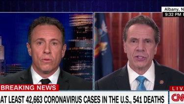 New York Governor Andrew Cuomo, right, is interviewed by his brother, CNN host Chris Cuomo, earlier this week.