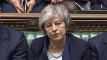 Britain's Prime Minister Theresa May after losing a vote on her Brexit deal on Tuesday.