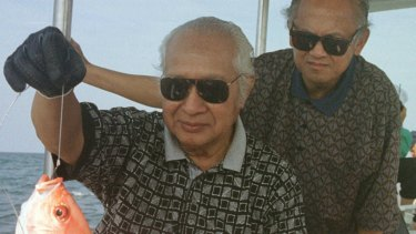 Indonesia's then-President Suharto, left, and Vice-President Bacchuridin Jusuf Habibie enjoy a fishing trip in 1997.