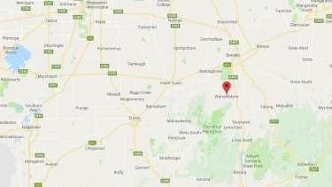 Map showing Warrenbayne in north-east Victoria where Christopher Empey was last located.