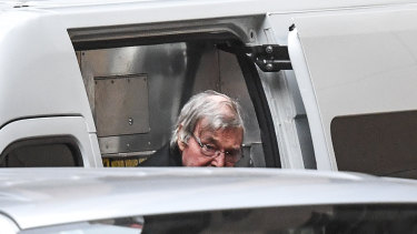 George Pell arrives at Supreme Court of Victoria for his appeal.