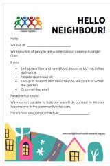 Brisbane residents are sharing a template to connect with neighbours during this difficult time.
