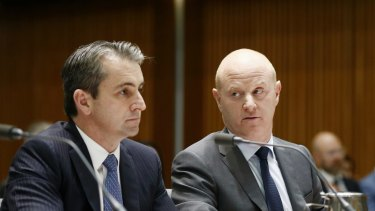 Matt Comyn and then Commonwealth Bank chief Ian Narev appear before the House of Representatives' standing committee review into Australia's four major banks in 2017.