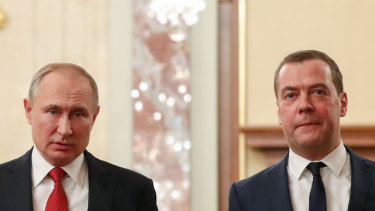 The end of the line for one. Russian President Vladimir Putin, left, and Russian Prime Minister Dmitry Medvedev.