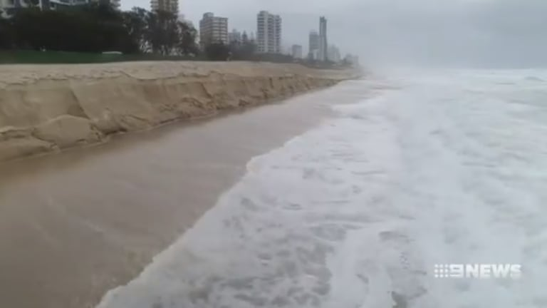 Erosion at Gold Coast beaches as a result of the massive waves generated by ex-tropical cyclone Linda.