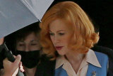 Nicole Kidman filming Being The Ricardos in Los Angeles in character as Lucille Ball.