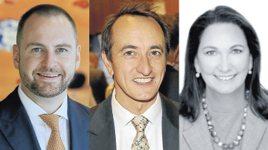 Eyes on the prize: Liberal preselection candidates for Wentworth, Andrew Bragg (left), Dave Sharma and Mary-Lou Jarvis.