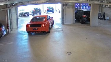Footage of Samuel Thompson leaving his Albion unit complex in his distinctive Mustang.