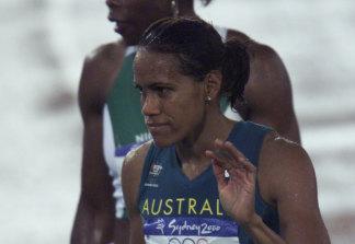 Cathy Freeman after winning her 400m semi-final.