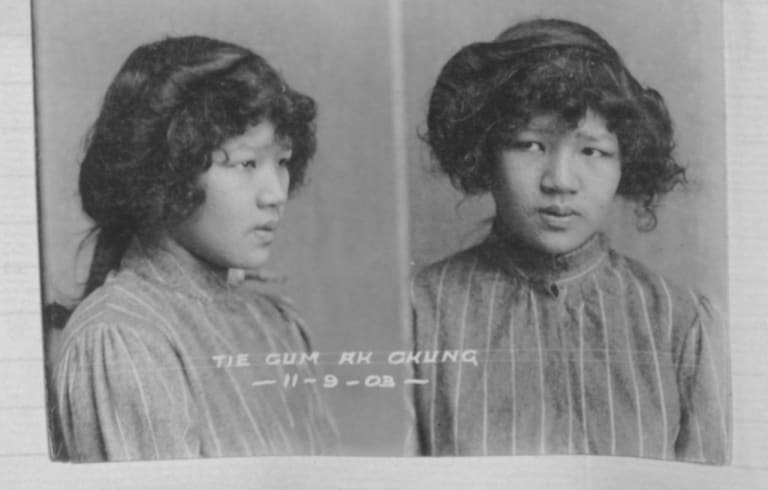 Tiecom Ah Chung, aka Yokohama, pictured in 1903 in a Hobart mug shot, would go on to work as a prostitute at 17 Casselden Place in Melbourne.