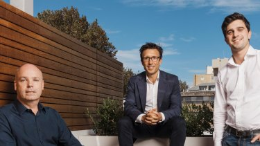 David Hancock (left) has left Afterpay, but co-founders Anthony Eisen (middle) and Nick Molnar (right) remain in charge.