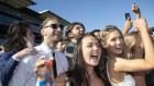 Revellers go berserk after the Everst race at Royal Randwick Racecourse. Sydney.