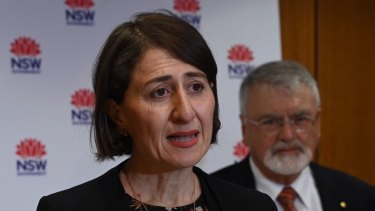 NSW Premier Gladys Berejiklian with University fo Western Sydney chancellor Peter Shergold launching the skills review.